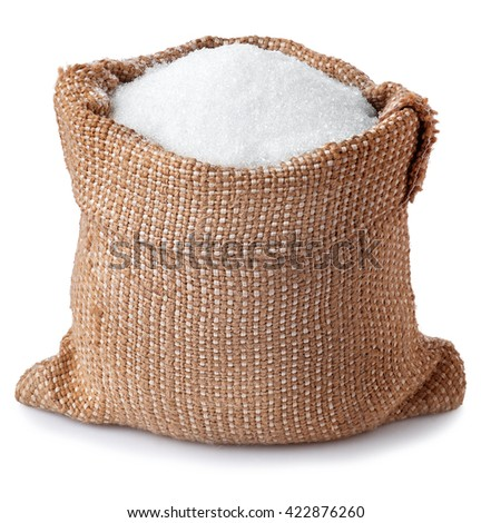 sugar in burlap sack isolated on white background. Full bag of sugar crystals closeup - stock photo