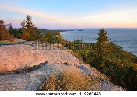 Sugar-loaf Mountain and little Presque Isle Sunrise, Marquette Michigan USA - stock photo