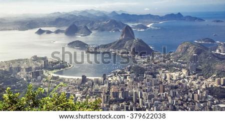 Sugar loaf mountain in Rio de Janeiro. Brazil - stock photo