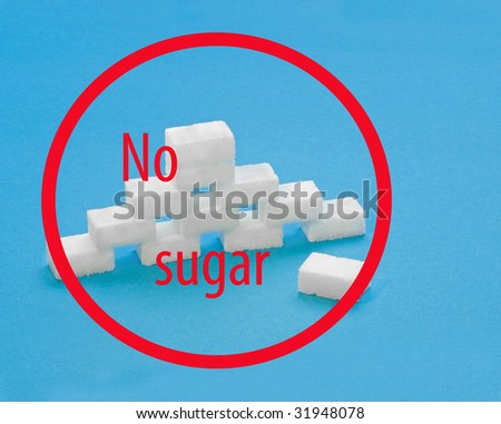 Sugar lumps or cubes on a blue background with illustration text: no sugar