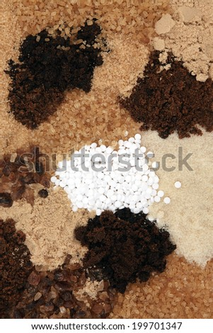 Sugar selection forming an abstract background design.