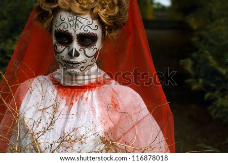 Sugar skull girl, Day of the Dead Halloween theme - stock photo