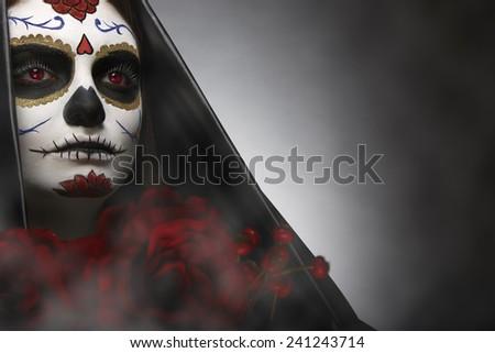 Sugar Skull headshot - stock photo