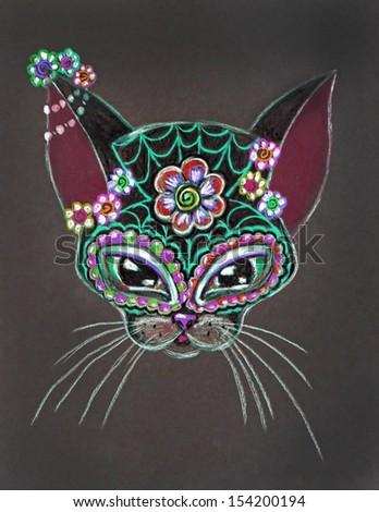 Sugar Skull Kitty 1, original pencil drawing by me, Day Of The Dead concept, Dia De Los Muertos - stock photo
