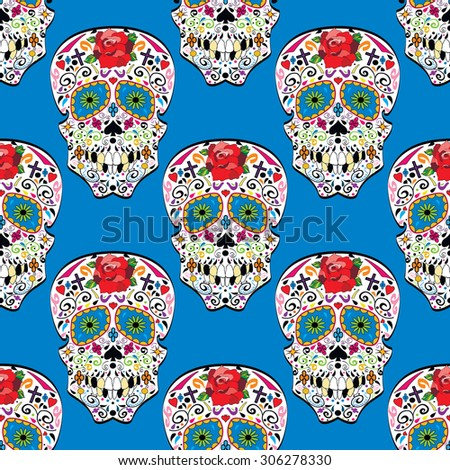 Sugar skull seamless pattern on background. Illustration. - stock photo