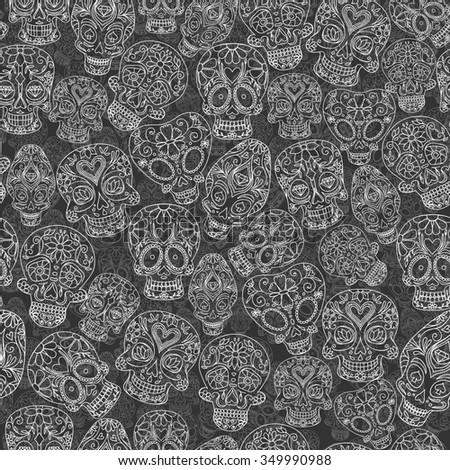 sugar skulls decorative seamless pattern, raster copy - stock photo
