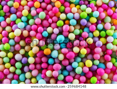 Sugar sprinkle dots decoration for confectionery. High  magnification macro in high resolution. - stock photo