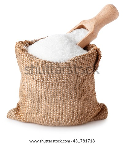 sugar with scoop in burlap sack isolated on white background. Full bag of sugar crystals closeup - stock photo