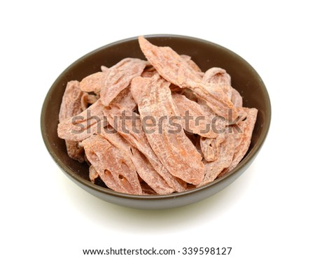 Sugared lotus root slices isolated on white background