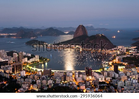 Sugarloaf Mountain and Botafogo District view by Sunset in Rio de Janeiro, Brazil - stock photo