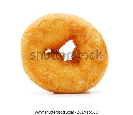 sugary donut isolated on a white background - stock photo