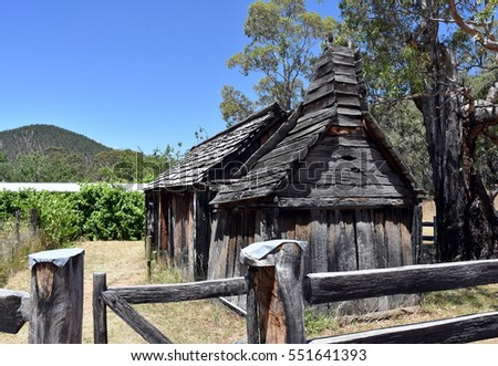 Suggan Buggan, Australia - December 25, 2016. 1860s wooden schoolhouse. Suggan Buggan is a very small township in the remote wilderness of the Alpine National Park with historical buildings.