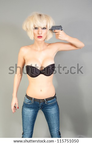 Suicidal girl with a gun