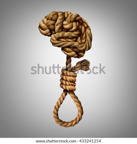Suicidal thoughts mental health disorder concept and psychology of a distressed and suffering mind as a group of tangled ropes shaped as a human brain and suicide noose. - stock photo