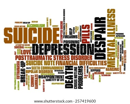 Suicide and depression issues and concepts word cloud illustration. Word collage concept. - stock photo