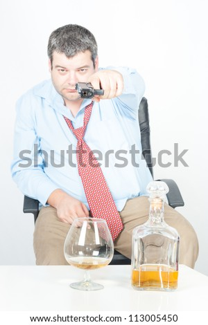 Suicide concept - or am I or are you, white background - stock photo