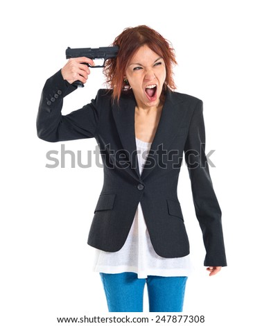 Suicide edhead girl - stock photo