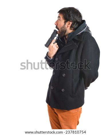 Suicide man over white background