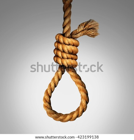 Suicide Noose concept as a rope in a lasso slipknot as a symbol for death or justice punishment or execution or as a psychology metaphor for desperate pain and despair. - stock photo