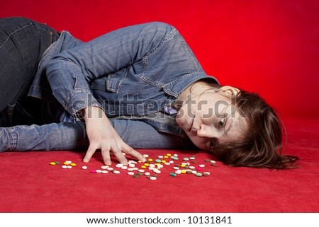 Suicide. Overdose of medicine. See portfolio for more... - stock photo
