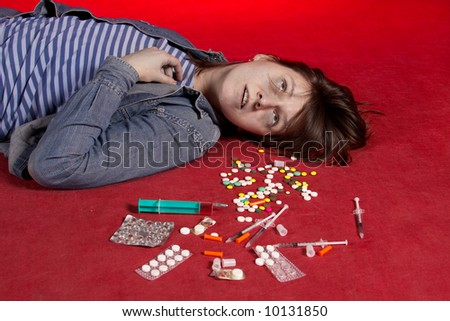 Suicide. Overdose of narcotic. See portfolio for more... - stock photo