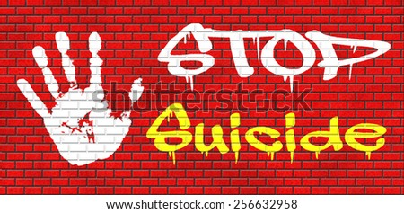 suicide prevention campaign to help suicidal people graffiti on red brick wall, text and hand - stock photo