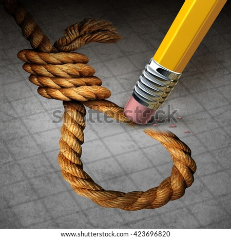 Suicide prevention psychology therapy and psychiatrist or psychologist treatment to stop depressed suicidal people from ending thier lives as pencil erasing a noose with 3D illustration elements. - stock photo