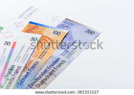 Suisse Francs Bills with Copy Space