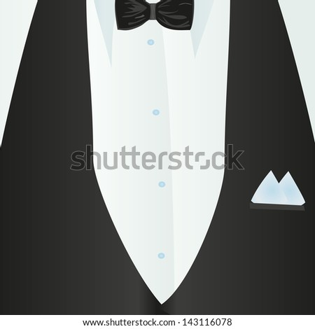 Suit, classic, blue shirt, black bow-tie, black vest in close-up. Business style. Mail costume close-up, background