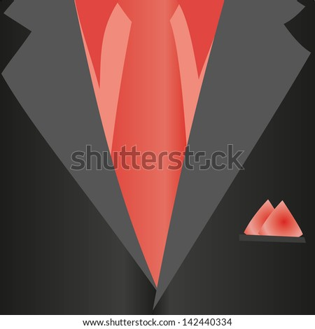 Suit, classic, red shirt, red tie, black jacket in close-up. Business style. Mail costume close-up, background. - stock photo