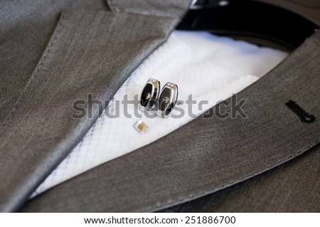 Suit, necktie and cuff links. Close Up - stock photo
