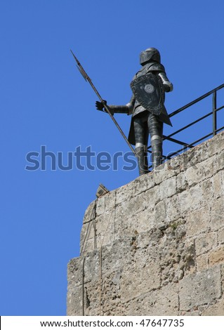 Suit of armor of the knights on the Greek island of Rhodes. - stock photo