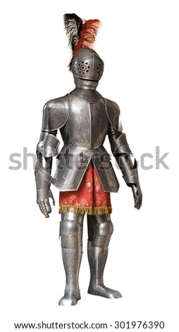suit of knight armour isolated with clipping path