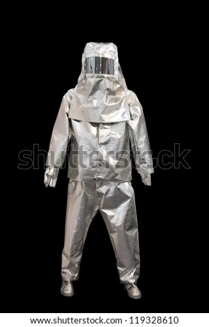 suit of protection against fire isolated on a black background - stock photo