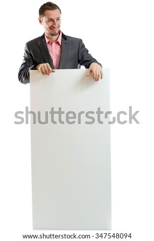 Suit tie businessman displaying placard isolated - stock photo