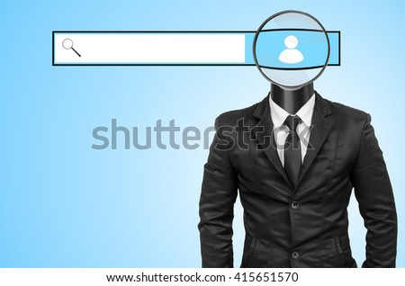 Suit with magnifying glass head, Concept of search. - stock photo