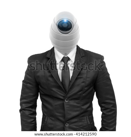 Suit with security CCTV head isolated on white with clipping path. - stock photo