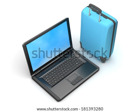 Suitcase and laptop on white background