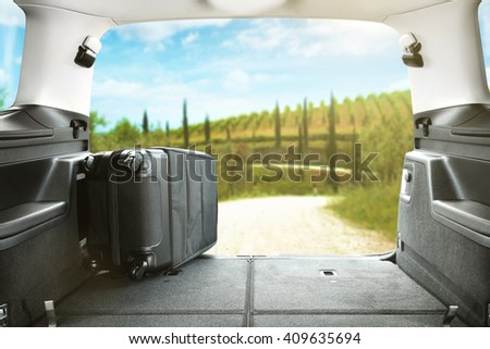 suitcase and road and free place for your decoration