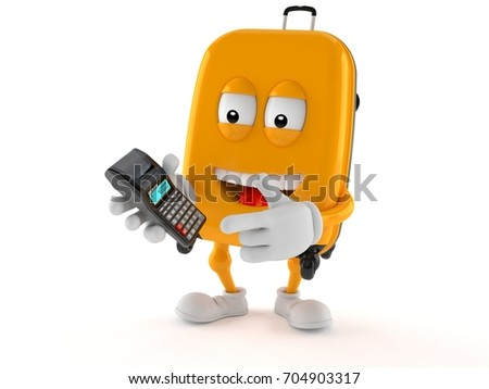 Suitcase character with calculator isolated on white background. 3d illustration