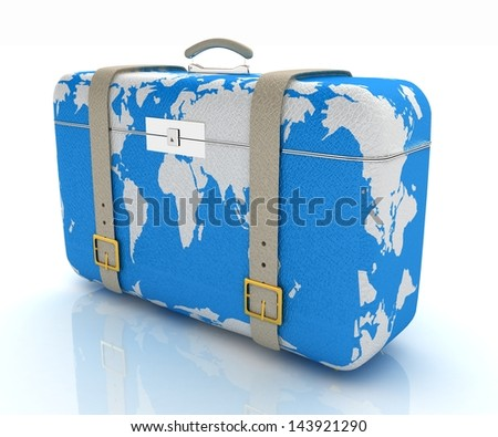 suitcase for travel - stock photo