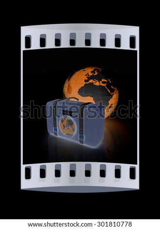 Suitcase for travel end Earth. The film strip - stock photo