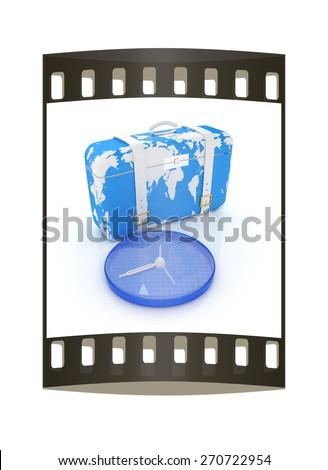 Suitcase for travel. The film strip - stock photo