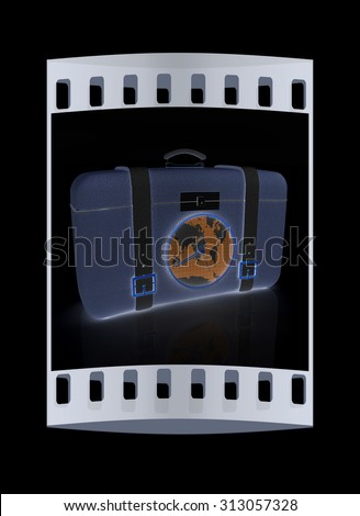 Suitcase for travel. The film strip