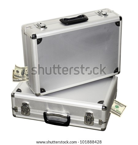 Suitcase full of dollars. Financial assistance