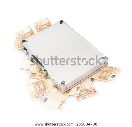 Suitcase full of fifty euro bank note bills isolated over the white background - stock photo