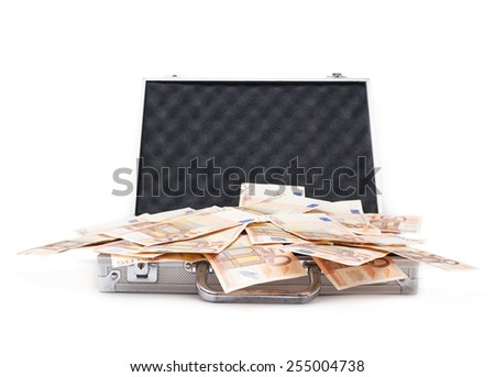Suitcase full of fifty euro bank note bills isolated over the white background