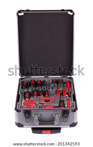 Suitcase full of various tools. Isolated on white closeup