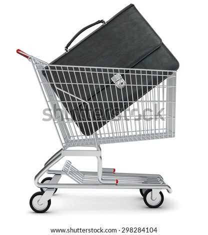 Suitcase in shopping cart on isolated white background