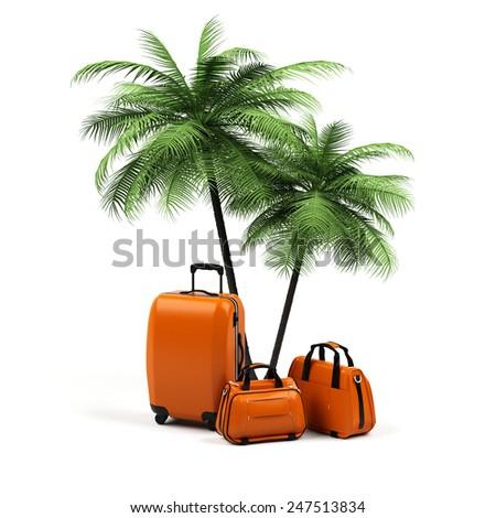 Suitcase isolated on white background - stock photo